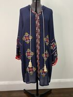 Kaftan With Embroided Details Boho Style Navy Size M EUC