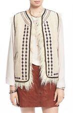 People Women's Almond Reversible Embroidered Faux Fur Vest Medium