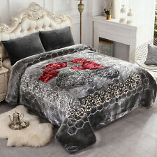 King Size Blanket Charcoal Grey Thick Mink Reversible Blanket 85'x95'
