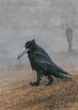 KRAHE ART PRINT BY RUDI HURZLMEIER black crow in boots walking dark raven poster