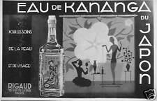 PUBLICITÉ 1931 EAU DE KANANGA DU JAPON DE RIGAUD POUR LES SOINS DE LA PEAU