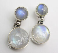 925 Silver RAINBOW MOONSTONE Studs Post Earrings 0.9""