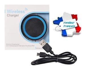 """Chargeur Wireless Induction """"Qi"""" Universel avec Câble USB (noir & bleu)"""