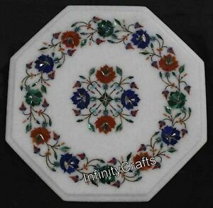 12 Inches Marble Coffee Table Top Inlay Multi Color Gemstones End Table for Home