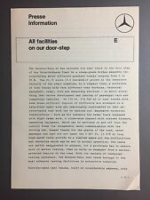 1968 Mercedes Benz Test Track Press Release, Press Kit, Pressemappe RARE Awesome