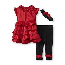 Small Wonders girl 3-6 mo Girl's Christmas set red Dress Leggings Headband
