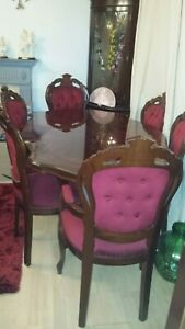 French rococo style italian mohogany pedestal dining table and 6 louis chairs...