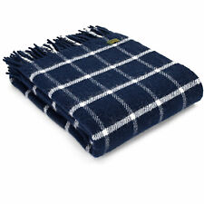 TWEEDMILL TEXTILES KNEE RUG 100% Wool Throw Blanket CHEQUERED CHECK NAVY BLUE