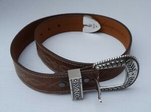 ARIAT SILVER Floral Buckle Mens Brown Leather Belt Stitch Western Rodeo 32/ 80