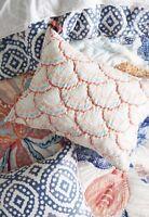 NIP Anthropologie white orange turquoise Carambra Quilted Standard Shams Set/2