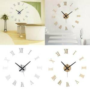 3D Luxury DIY Wall Clock Roman Numerals Large Stick Mirror Surface Art Silent UK