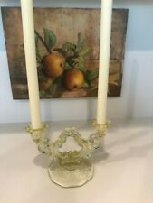 Vintage Yellow Etched Double  Candlestick Holder