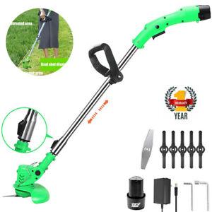 Cordless Strimmer Electric Grass Trimmer Garden Edger Cutter Batteries Blades UK