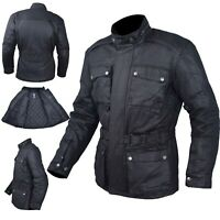 Waxed Jacket Textile Motorcycle Motorbike Warm Armour CE Scooter Black