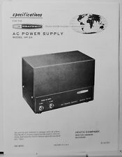 Heathkit Specifications & Circuit Diagram for AC Power Supply Model HP-24