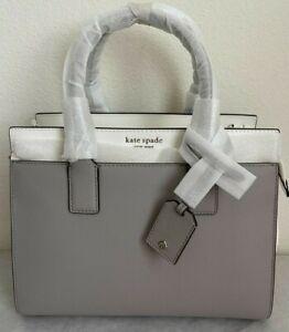 NWT Kate Spade Cameron Medium Satchel Leather Bag White/Taupe $399 Original Pack