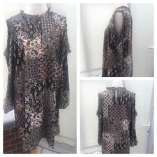 George Tunic Top Black Dress Cold Shoulder Sleeve Size 16  festival  gj