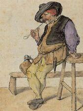 Cornelis DUSART Olandese Contadina fumo Vecchia Pittura Arte Poster Stampa bb5156a