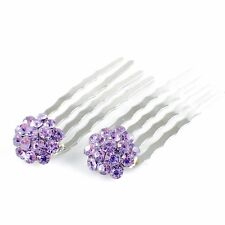 USA Mini Hair Comb Clip use Swarovski Crystal Hairpin Elegant Bridal Purple C10
