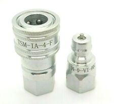 New 14 Npt Iso 7241 1 A Quick Disconnect Poppet Valve Hydraulic Coupling Set