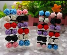 6 pairs Colourful Mystic Resin Rose Womens Girls Stud Earrings UK seller