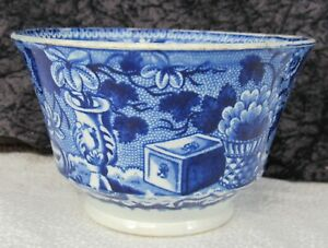"Antique Staffordshire Blue Transferware Basket Brick & Vase 4 5/8"" Waste Bowl"