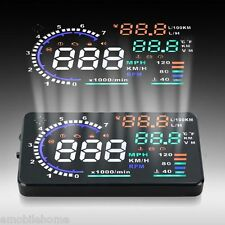 "A8 5.5"" OBD II Car HUD Head Up Display Speed Fatigue Warning RPM MPH Fuel Consum"