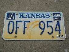 2000 KANSAS Wheat License Plate OFF 954 KS Three letter word
