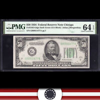 1934 $50 CHICAGO FRN Federal Reserve Note  PMG 64 EPQ  Fr 2102-Gdgs G06951477A