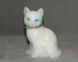 Fenton Opaline Hand Painted Cat Figurine Faux Diamond Necklace April Birth Stone