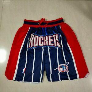 Houston Rockets Vintage Men's Blue with Pockets Basketball Shorts Size: S-XXL