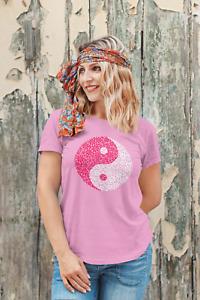 Ladies Floral Yin Yang Yoga tshirt Top Hippy T-Shirt Festival Flower Power Tee
