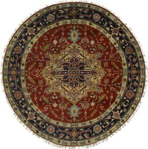 Floral Heriz Serapi Round Rug 8X8 Handmade Farmhouse Oriental Home Decor Carpet
