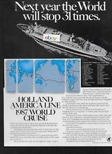 HOLLAND AMERICA LINE SS ROTTERDAM WORLD CRUISE FOR 1987 WORLD STOPS 31 TIMES AD
