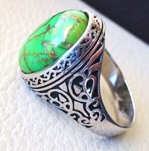 925 Sterling Silver Plated Green Copper Turquoise Gemstone Boys Mens Ring