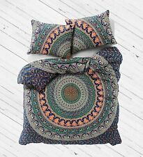 New Indian Handmade Cotton Queen Mandala Doona Duvet Blanket & 2 Pillow Cover
