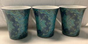 222 Fifth Eva Opulent Blue (3) Mugs Mint Condition