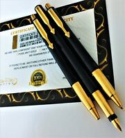24Ct Gold Plated Parker Fountain Vector Writing Pen and Pencil Set Ink Gift 24K