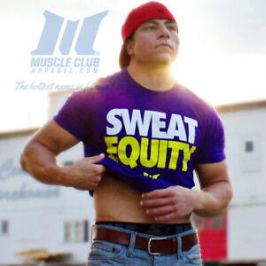NEW Men's Muscle Club Apparel Sweat Equity Bodybuilding Gym T-Shirt: Purple