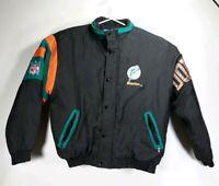 Vintage Starter Miami Dolphins Full ZIp Jacket Mens Large Black and Teal