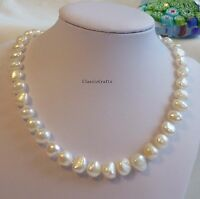 Genuine 9-10mm Baroque freshwater pearls necklace or bracelet L 45cm