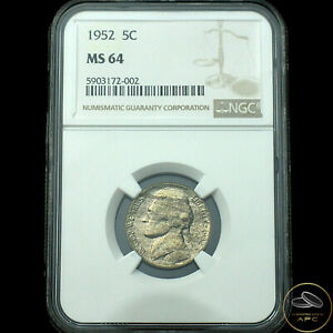 1952 Jefferson Nickel~NGC MS64~Amazing Toning~Freshly Graded Beauty~!