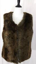 Apt 9 Womens Vest Sz XL Faux Fur Mink Sable Brown Lined Jacket Sleeveless