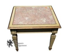 """Vintage Mid Century Traditional Pink Red Marble Table End Side Night Stand 18"""""""