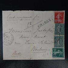 LETTRE CHARGE COVER SEMEUSE N°130/134/137 CAD TOURS GARE 1908 POUR NARBONNE