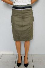 Jupe kaki lin coton M+F GIRBAUD saritabli T 26 (34-36)  NEUVE ÉTIQUETTE val 280€
