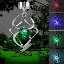 Energía Solar Carillón De Viento Jardín LED Luz Lámpara Colgante Spinner Cambio De Color Deco