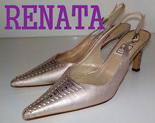 "Luxury Italian ""RENATA"" GOLD PEARL LEATHER Slingbacks Shoes UK 4  EU 36.5  £105"