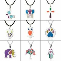 Colorful Stainless Steel Animal Enamel Necklace Pendant Women Charm Jewelry Gift