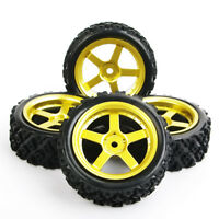 Rubber 4Pcs Rally Tyre&Wheel Rim D5G+PP0487 For HSP HPI RC 1:10 Off Road Car